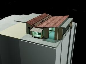 Maison en bois sur terrasse.